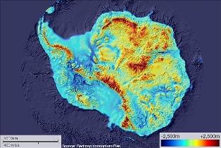 Антарктида, лід, карта, BEDMAP, топографія