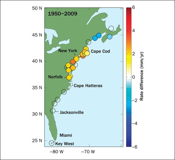 Північний схід США поставив світовий рекорд по зростанню рівня моря