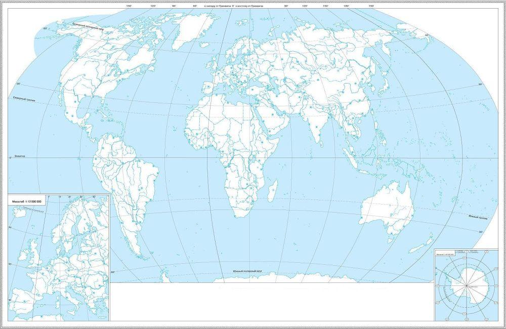 Контурна карта світу: політична карта