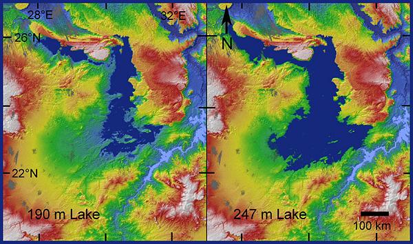 озеро, спутникові знімки, Сахара, скам'янілості