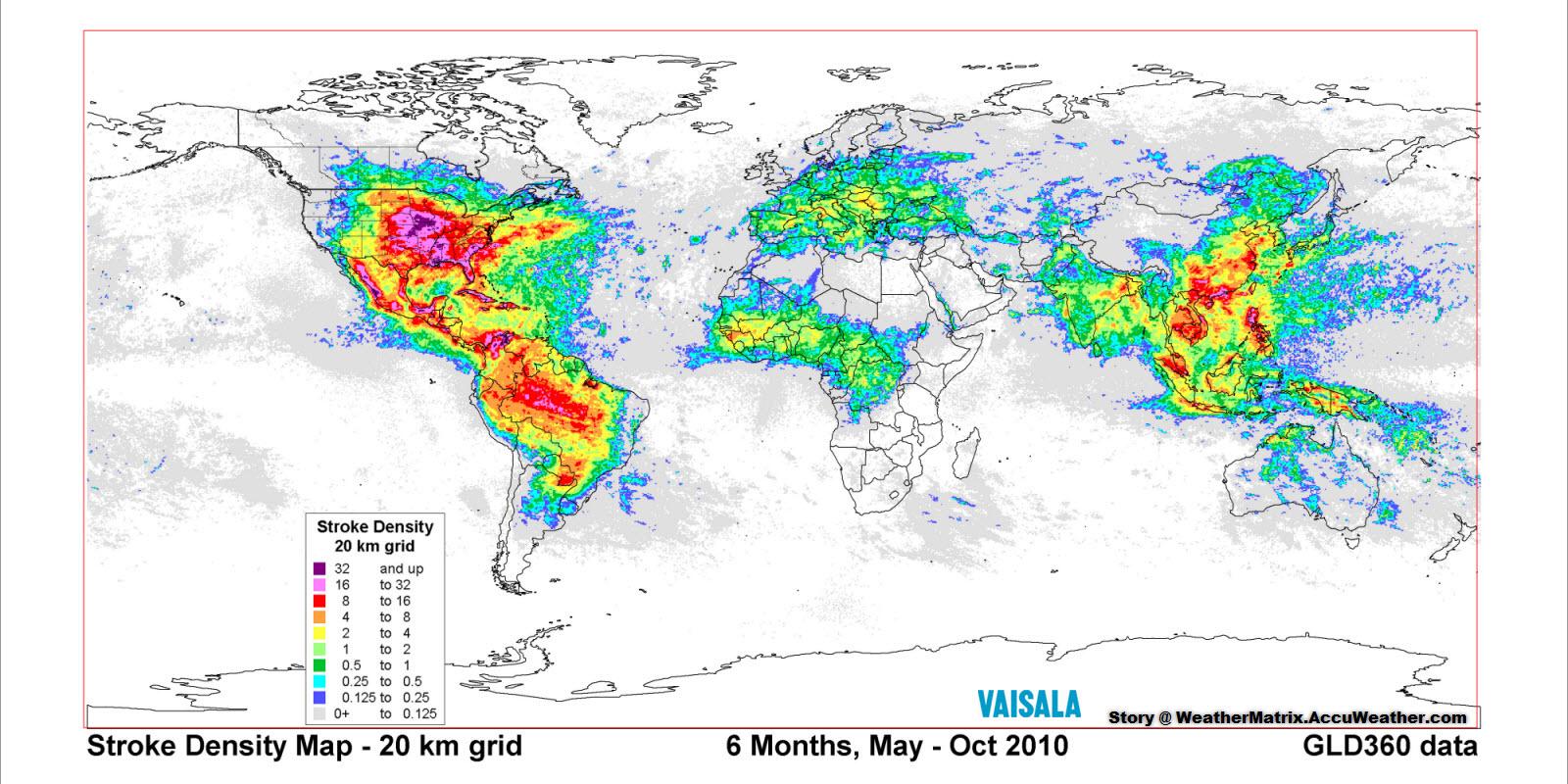 тематична карта ,удари блискавок, земна поверхня, географія