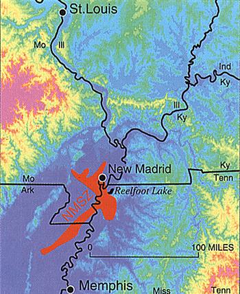 землетруси, ерозія, долина ріки, Міссісіпі