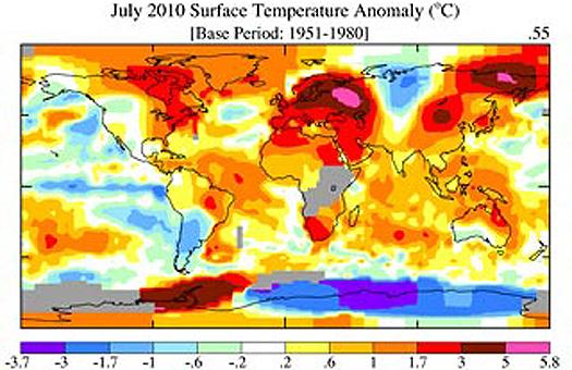 NASA, температурні аномалії, карта