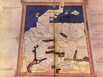 стародавня карта, Лейпціг, німецькі дослідники