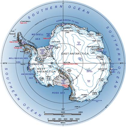 Антарктида, карта, фіорд, льодовиковий щит